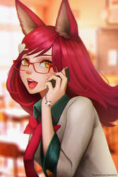 Academy Ahri with red glasses by Sanilea