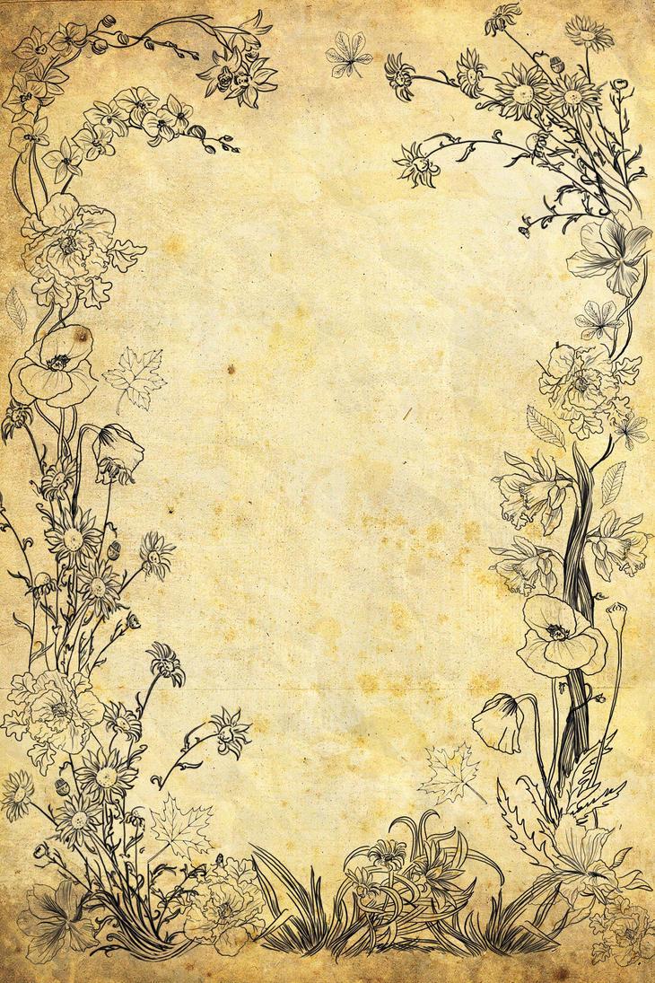 Flower Old Paper By VanessaBettencourt