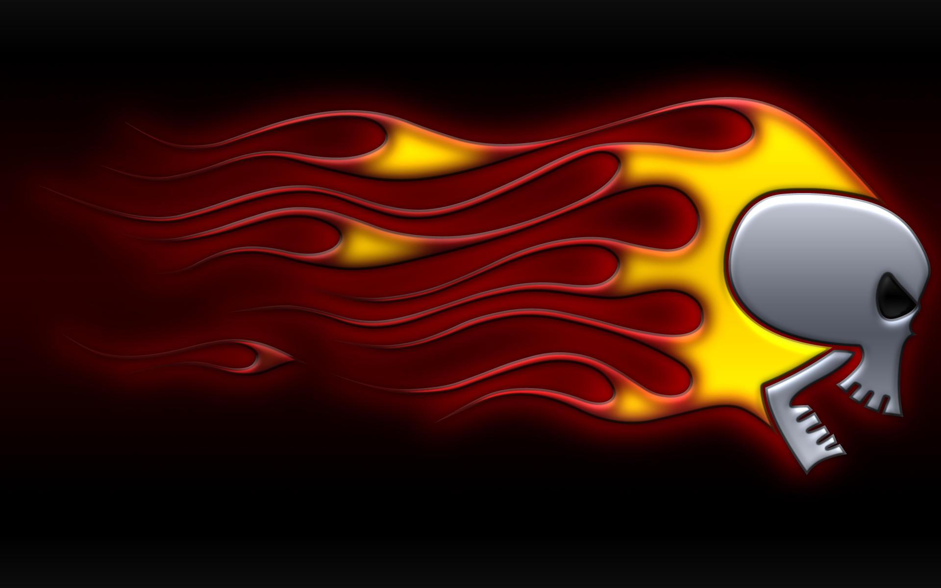 flaming skull black widescreen by jbensch