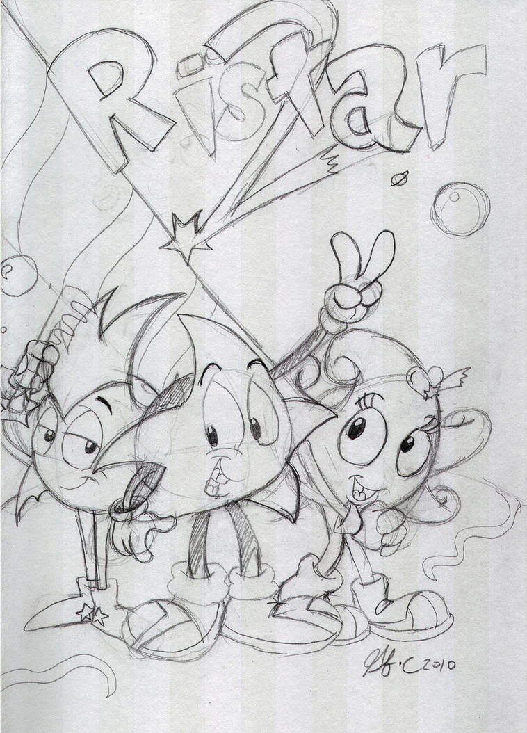 Ristar 2 pencil sketch by spongefox