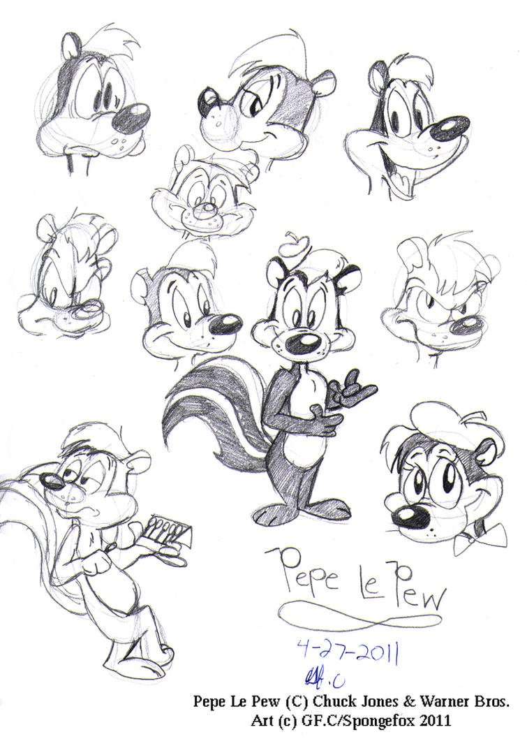 pepe le pew coloring pages - sketches le pepe le pew by spongefox on deviantart