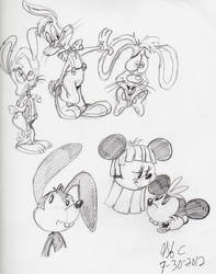 Roger-Oswald-Mickey and Minnie disguises by spongefox