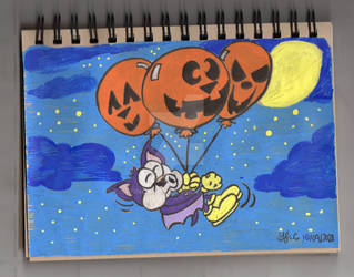 A Bat's Halloween Balloon Ride