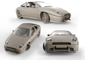 Fiat Coupe clay render by bonsaipower