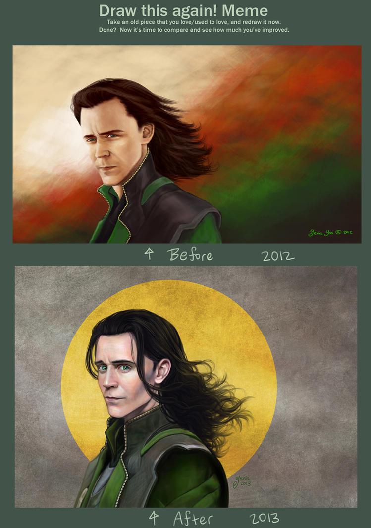 Draw this again meme, Loki by slugette