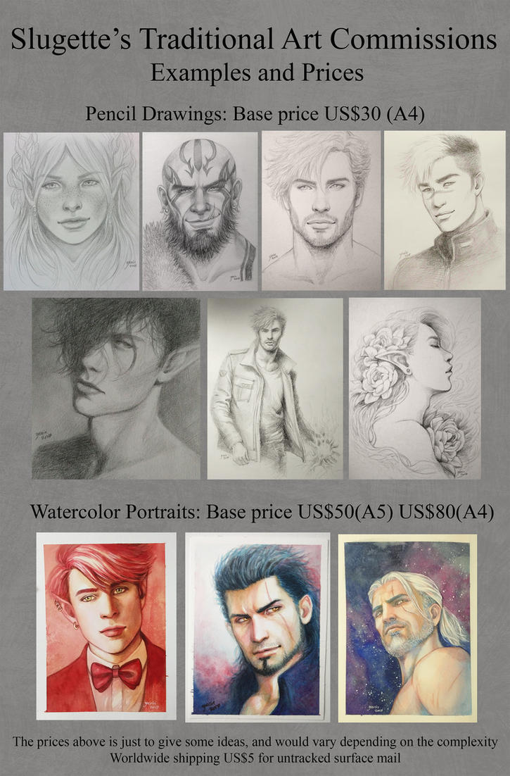 Traditional Art Commissions by slugette