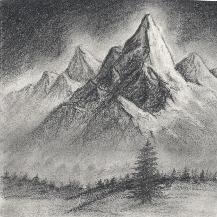 Mountain landscape by tarawi on deviantart for How to draw nature drawing