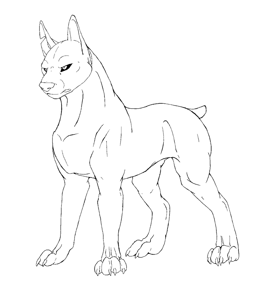 Line Drawing Of Dog : Free dog line art by wolfpup on deviantart
