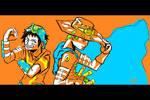Luffy Joestar and Zoro Zeppeli