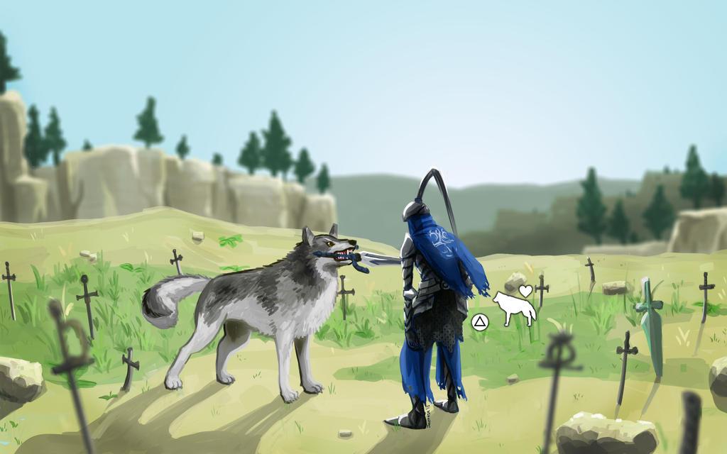 Press Triangle To Love Great Grey Wolf by JOSEPHSK