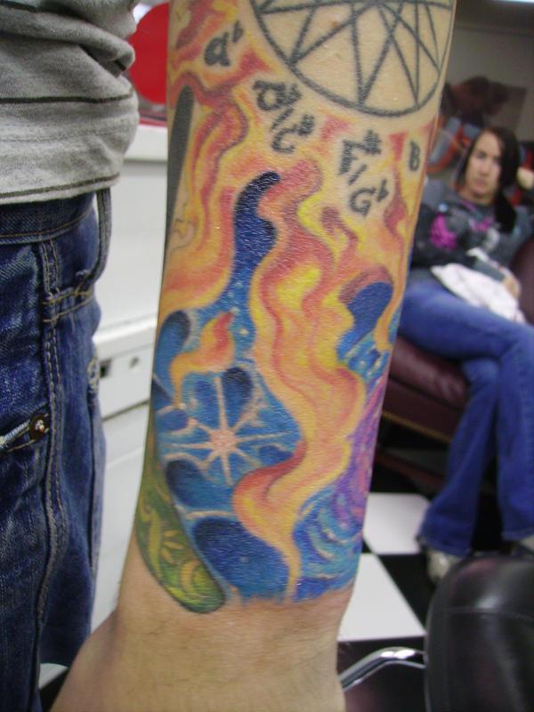 Celestial Flames 1 - sleeve tattoo