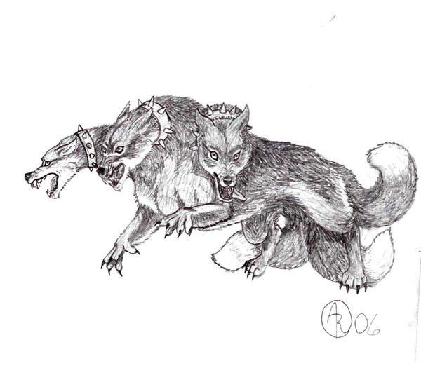 Three-Headed Dog Cerberus by BlackWolfDarkFox on DeviantArtThree Headed Animal Drawing