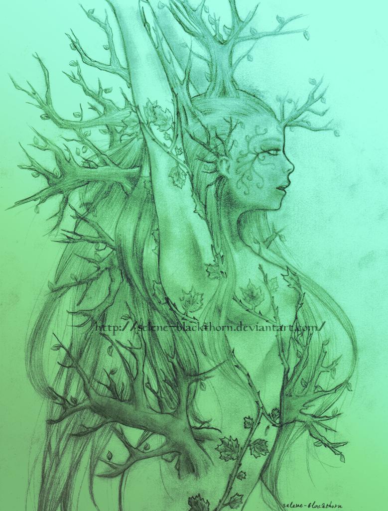 Forest Goddess WIP by Selene-Blackthorn