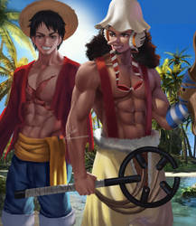 Ussop x Luffy by hlulani