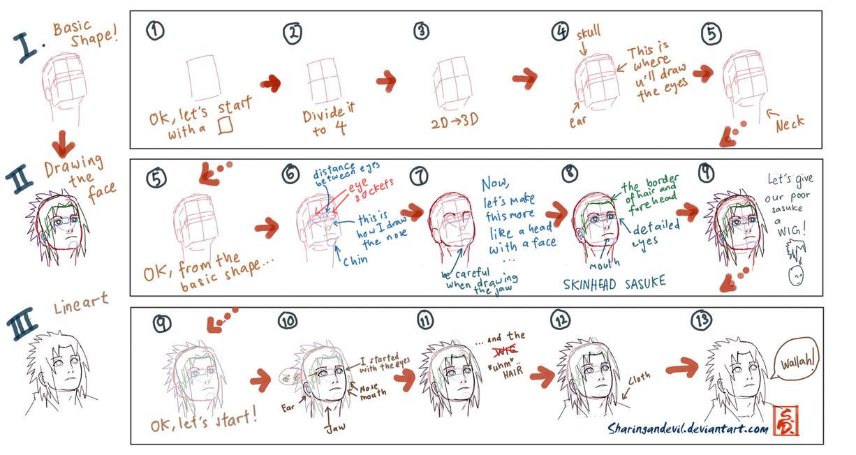 how to draw naruto and sasuke step by step slowly