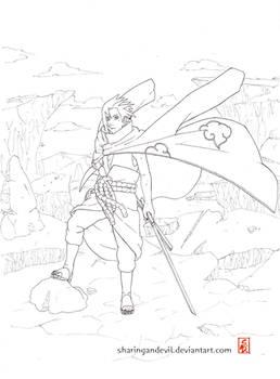 akatsuki sasuke lineart