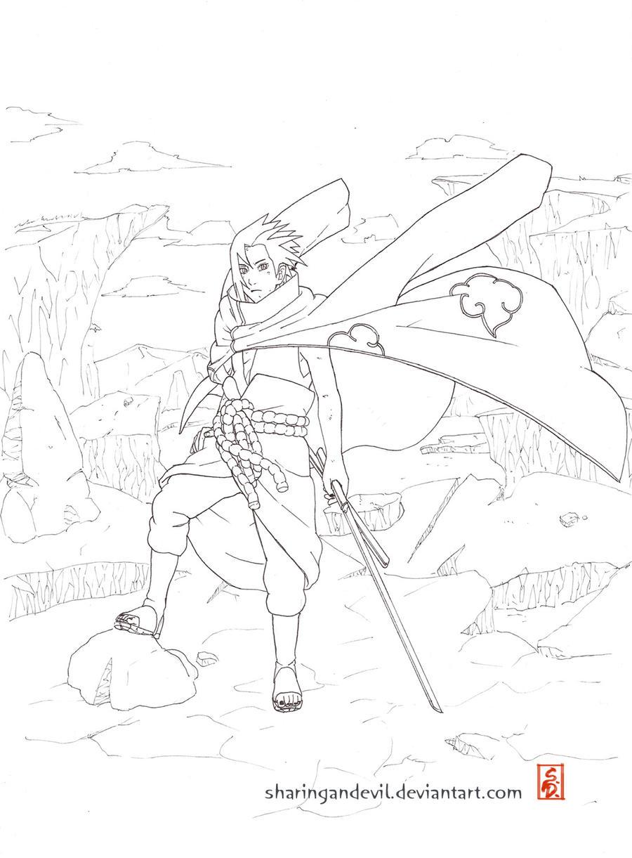 akatsuki sasuke lineart by sharingandevil