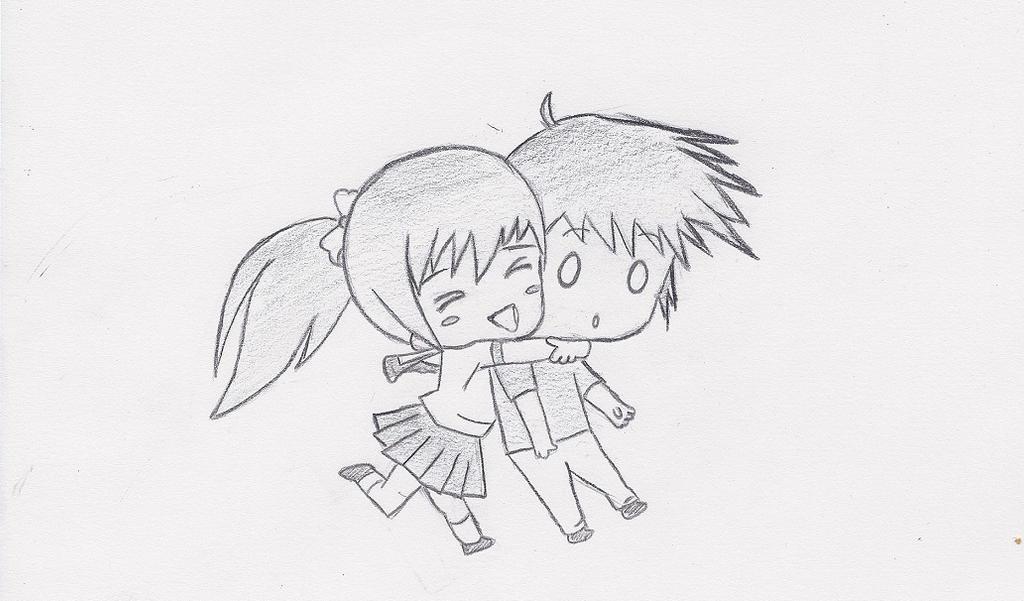 Chibis hugging - photo#13