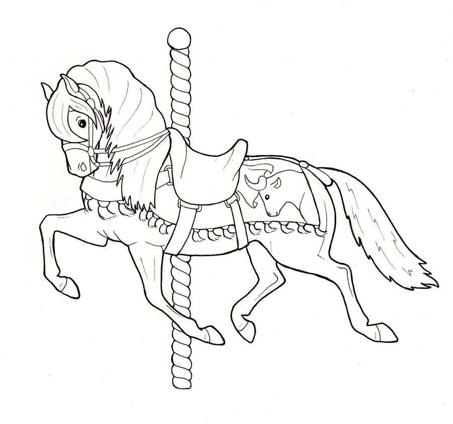Carousel horsey 1 by crawdademily on deviantart for Carousel horse coloring page