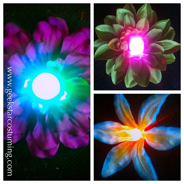 Rainbow Cyber Fairy LED Hair Flowers by GeekStarCostuming