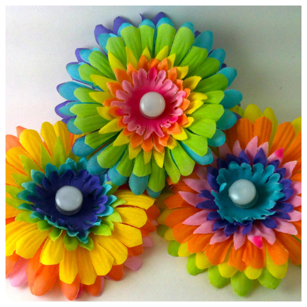 Rainbow Glowing Led Hair Flowers Daytime By Geekstarcostuming On