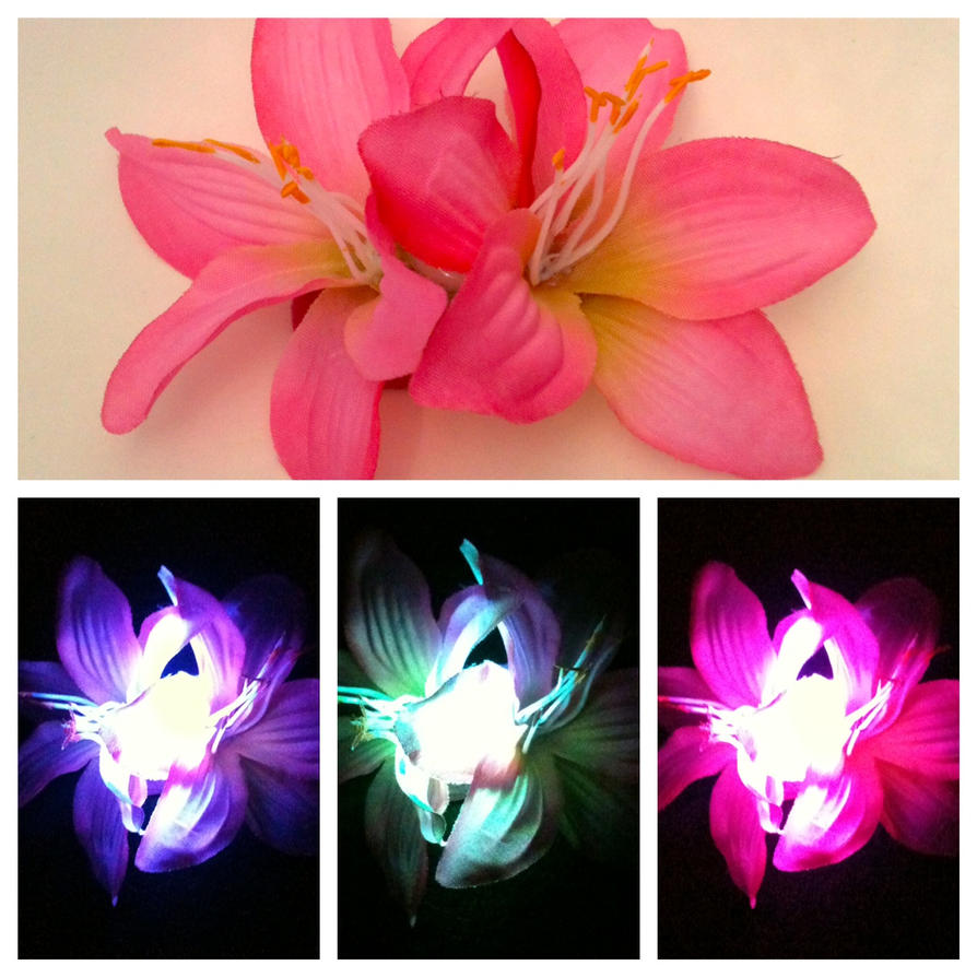 Glowing Pink Double Stargazer Lily Hair Clip By Geekstarcostuming On