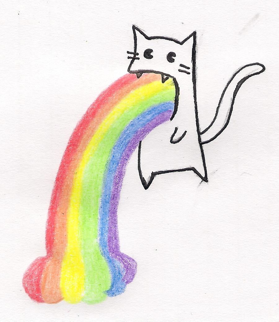 Как нарисовать кота у которого радуга