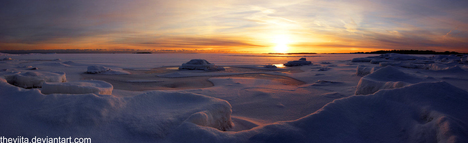 Icy Islet Sunset III by theviita