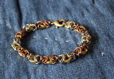 Aged Hardware Chainmaille Bracelet w/Brass Hexnut by SariousSleuth
