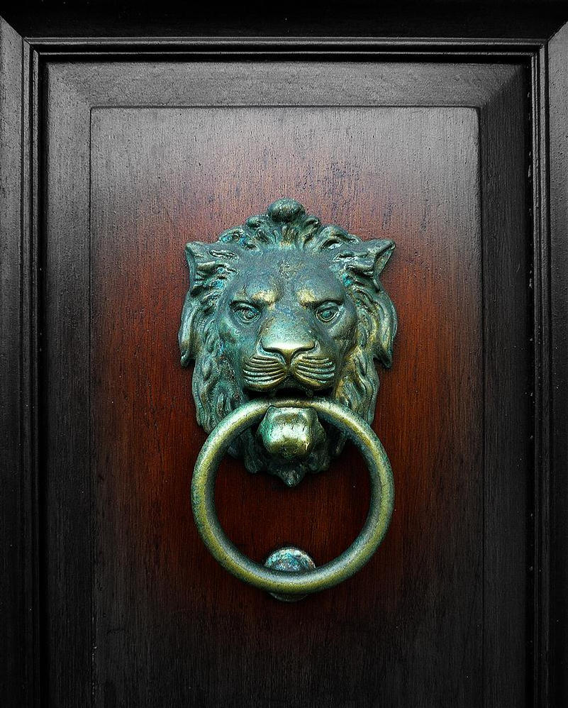 Lion at the door by awjay on deviantart for 10 downing street lion authentic foundry door knocker