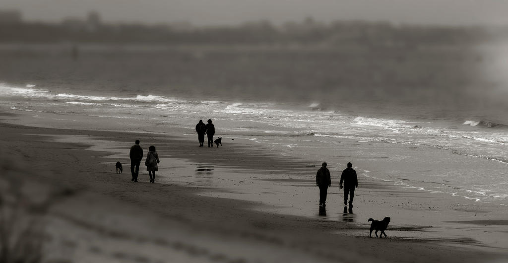 some beach walkers by awjay