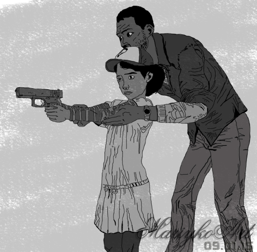 The Walking Dead Clementine And Lee By MariykoArt On