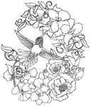 Hummingbird with Flowers Tattoo