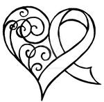 Cancer Ribbon Heart with Swirls Tattoo