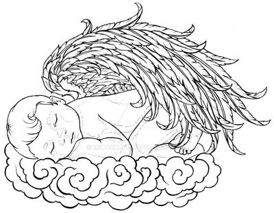 baby angel sleeping on a cloud tattoo by metacharis on deviantart. Black Bedroom Furniture Sets. Home Design Ideas