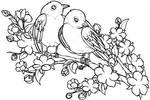 Lovebirds on Cherry Blossom Branch Tattoo