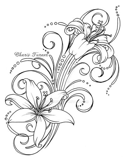 Lily Tattoo Line Drawing : Lily tattoo by metacharis on deviantart