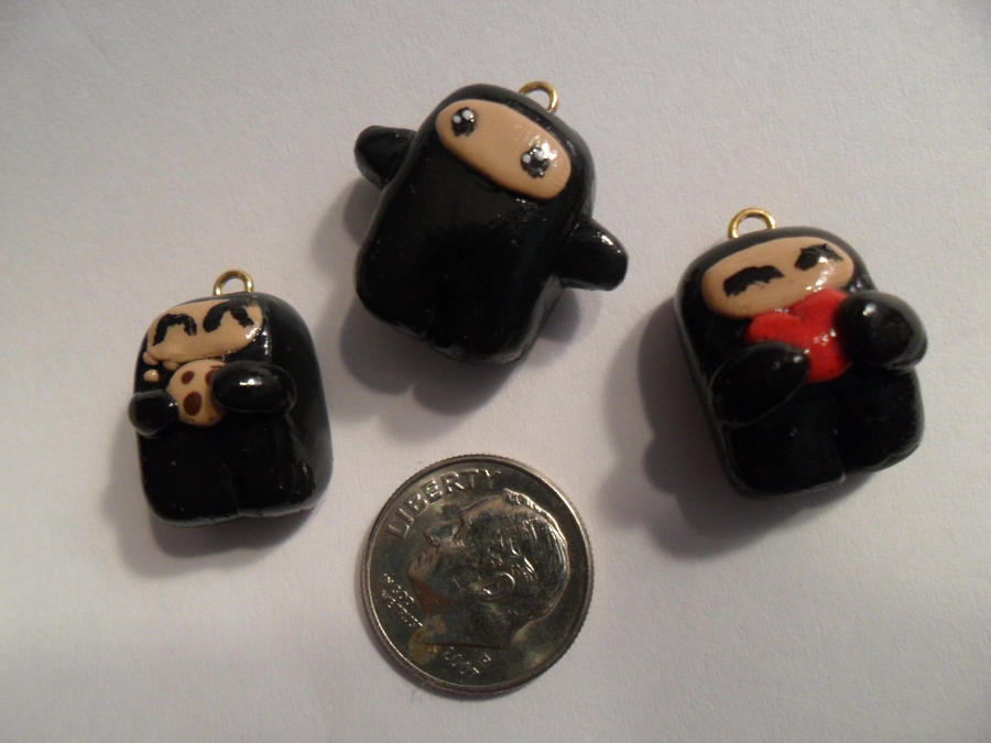 Ninjatown Polymer Clay Charms by HelloHeidi