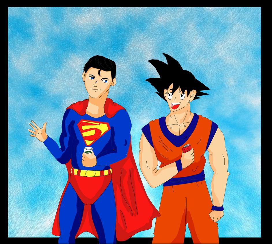 Superman and Goku by Nathalie-chan