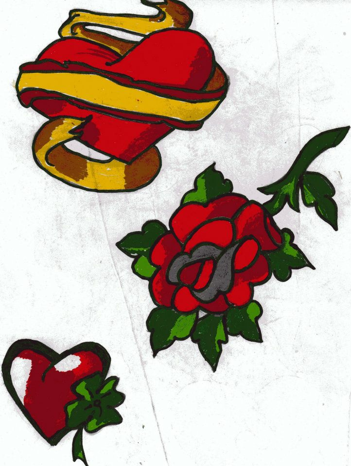 Heart With Rose And Banner: Heart With Banner, Rose And Irish Heart Coloured By