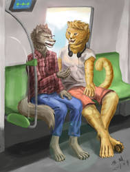 A happy chat on the train