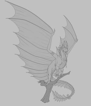 Commission #82 - Gold Dragon Design Lineart