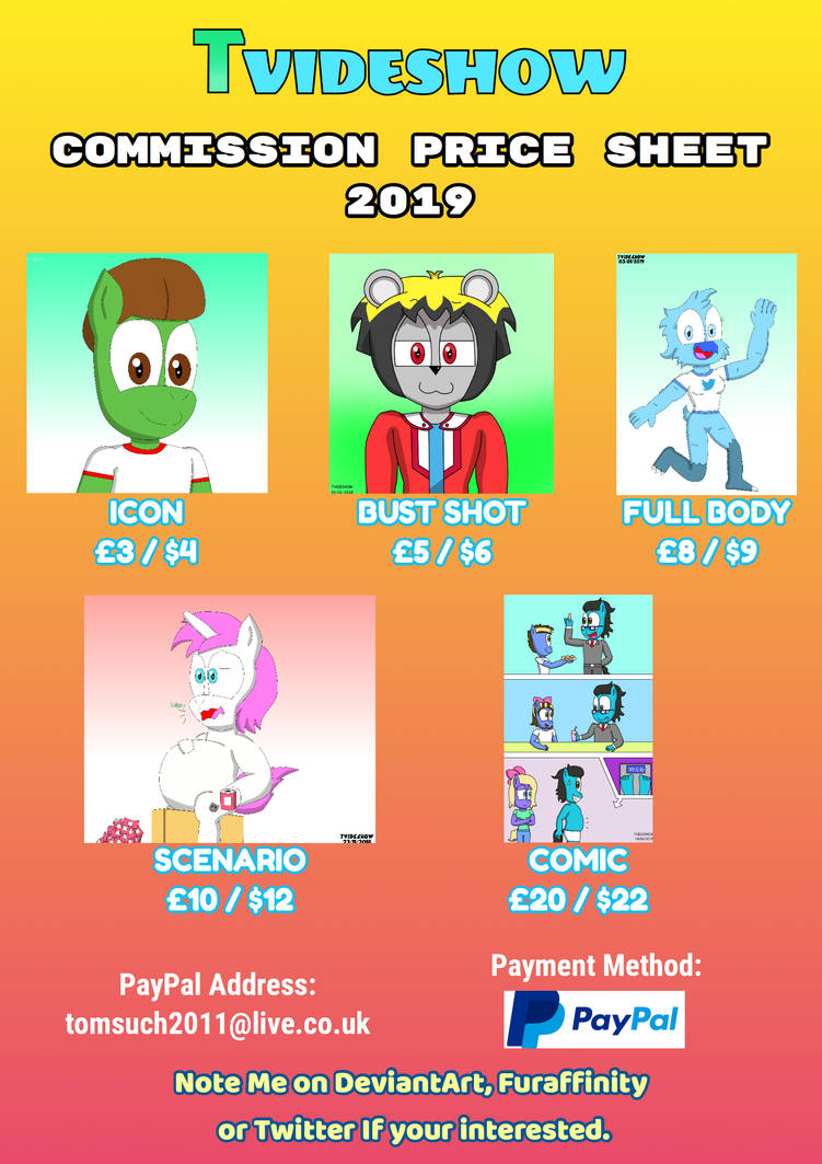 T Videshow Commission Price Sheet 2019 by TVideshow