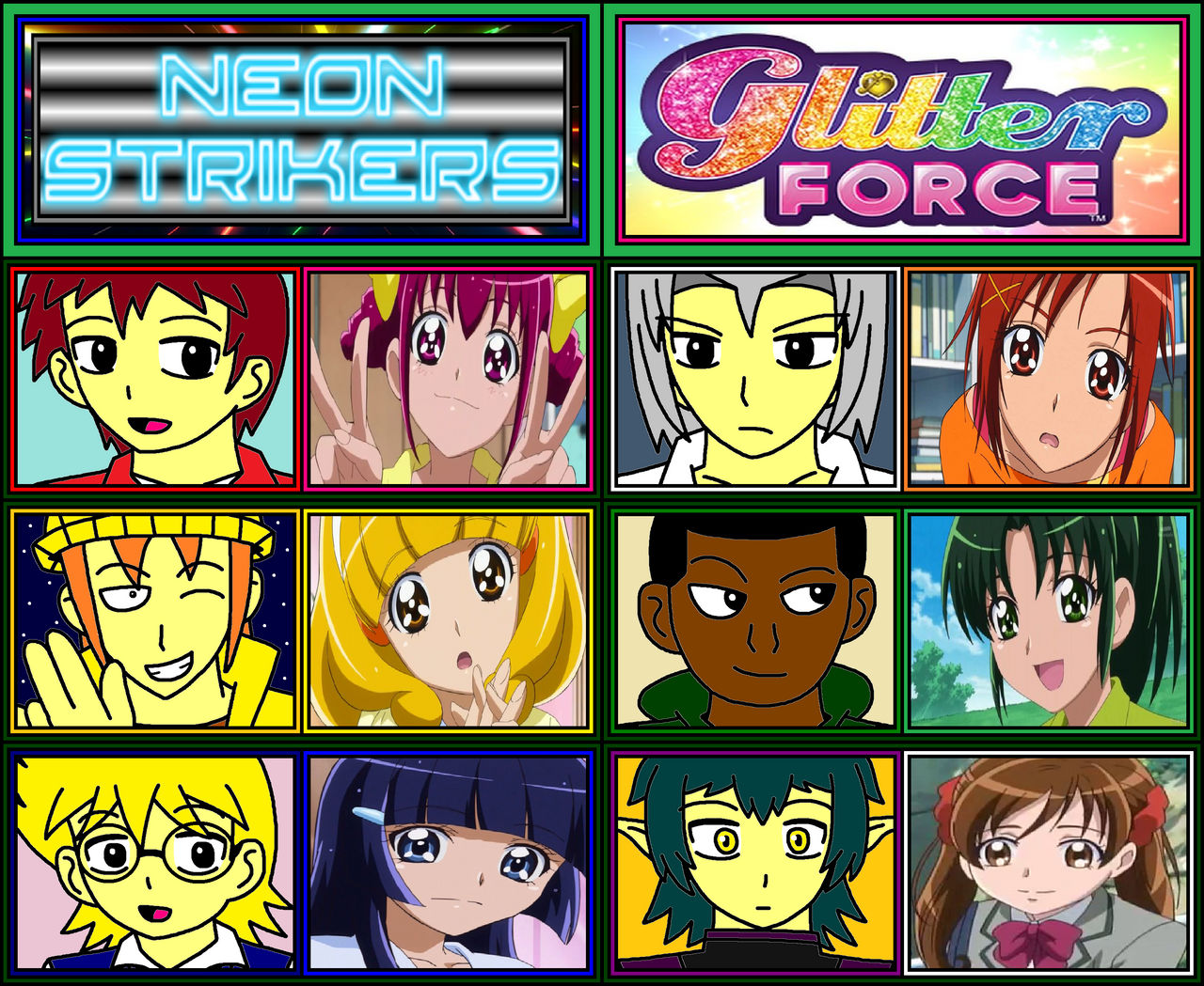 Neon Strikers X Glitter Force Main Characters By Ian2x4 On Deviantart
