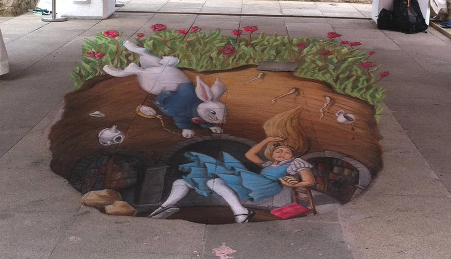 Alice down the rabbit hole by AmazingStreetPaint