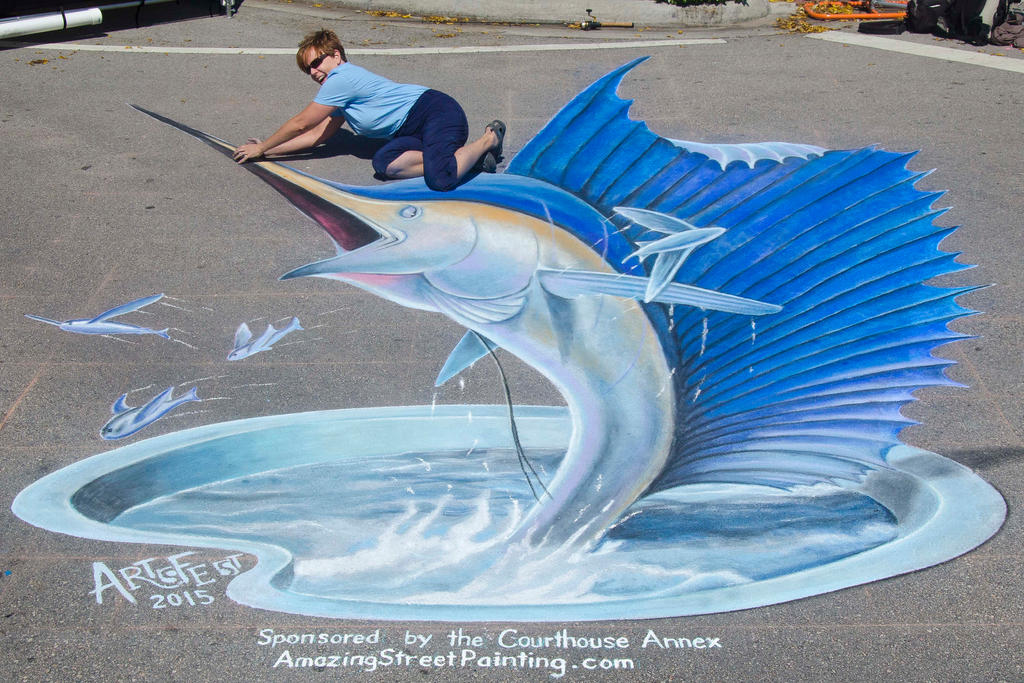 3D Sailfish in chalk at Artsfest 2015 by AmazingStreetPaint