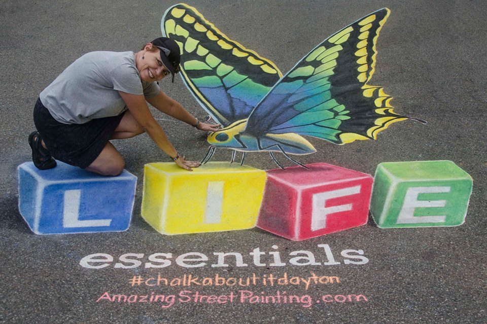 3D chalk art at Chalk About It in Dayton, Ohio by AmazingStreetPaint