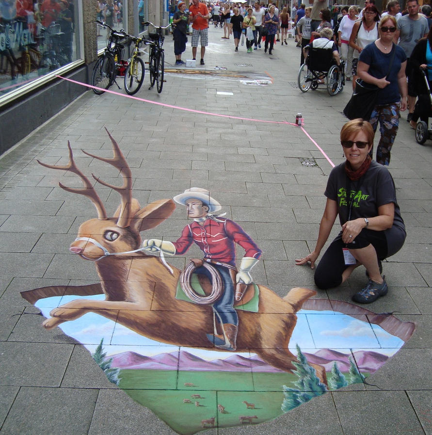Cowpunching on a Jackalope by AmazingStreetPaint