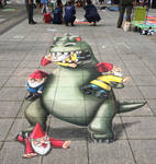 Godzilla vs the Garden Gnomes by AmazingStreetPaint