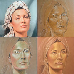 Stages of Sarah Portrait by AmazingStreetPaint